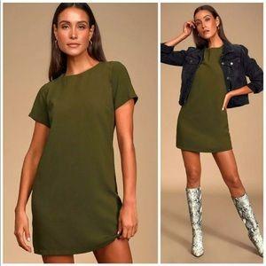Lulu's Olive Green Shift & Shout Mini Shift Dress